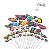 Teenitor Butterfly Garden Stake 5 Different Size Butterfly Stakes Garden Ornaments & Patio Decor Butterfly Party Supplies Garden Stakes Decorative For Outdoor Yard Christmas Decorations(Set of 40)