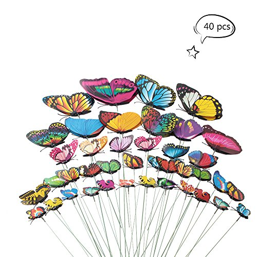 Teenitor Butterfly Garden Stake, 5 Different Size Butterfly Stakes Garden Ornaments & Patio Decor Butterfly Party Supplies Garden Stakes Decorative For Outdoor Yard Christmas Decorations(Set of (Butterfly Patio Set)