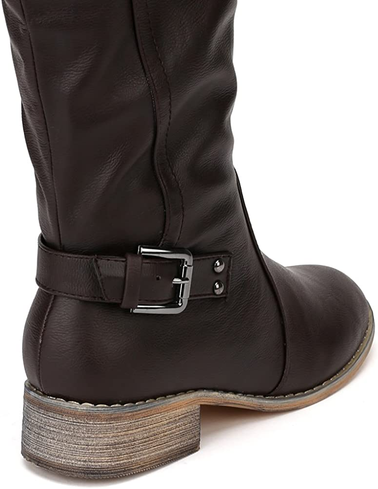 Nature Breeze Women Leatherette Buckle Round Toe Riding Knee High Boot AD93 Brown