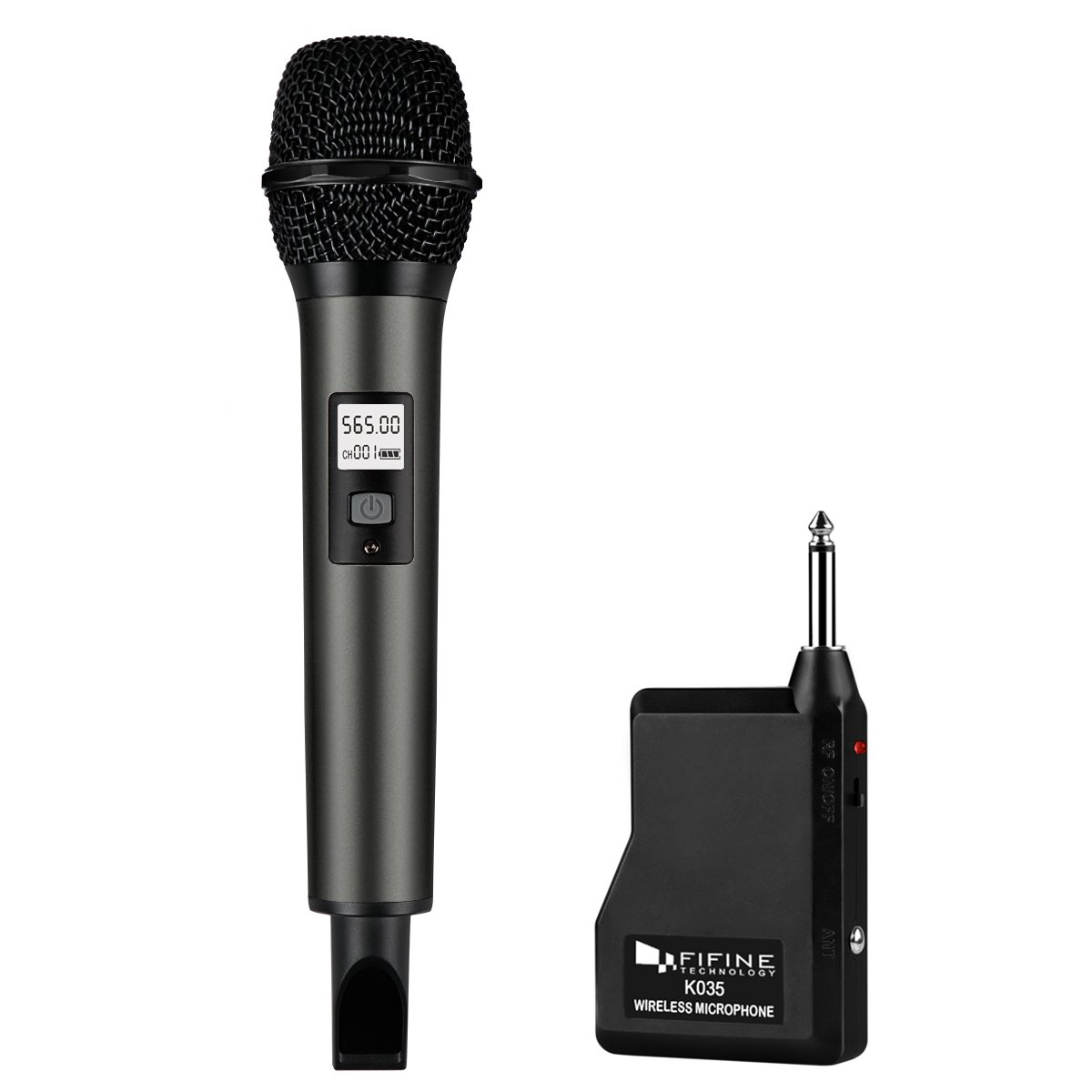 Fifine Wireless Microphone System with Portable Receiver 1/4'' Output, Selectable UHF Channels. Perfect for Church, Wedding, Karaoke (K035B)