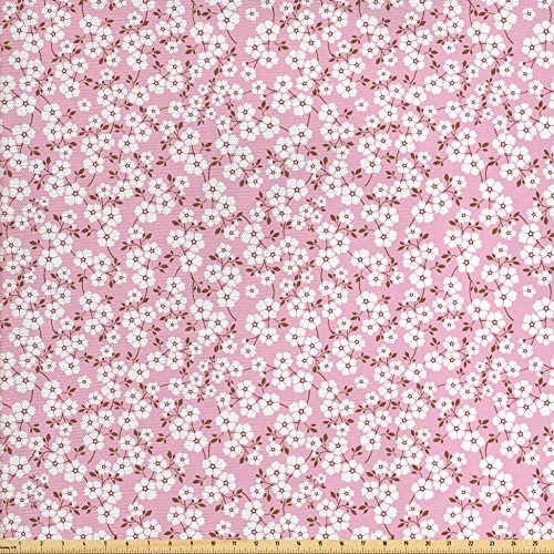 Pink and White Fabric by the Yard by Ambesonne, Cheery Bedding Plants Bursting out into White Blossoms Calico Style, Decorative Fabric for Upholstery and Home Accents, Pink Brown (Brown Calico Fabric)