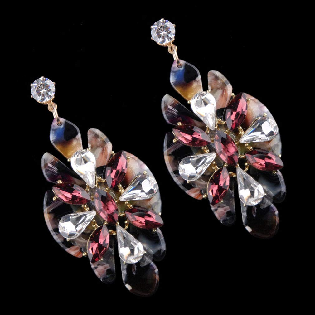 Jinxian Rhinestone Crystal Topaz Drop Earrings Dangling Zirconia Studs Graceful