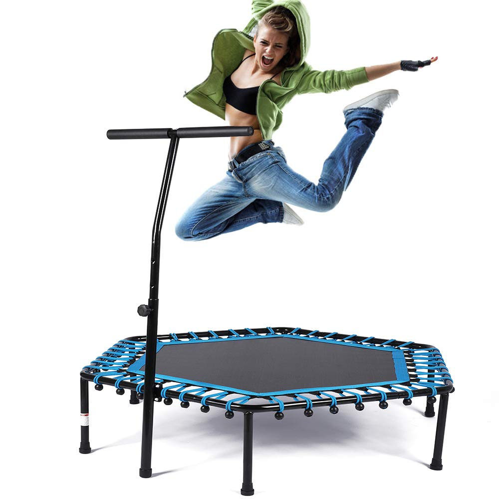 Safly Zone Trampoline 50'' Mini Indoor Kids Adults Trampolines with Handle Bungees Cord, Best Urban Cardio Workout Home Trainer