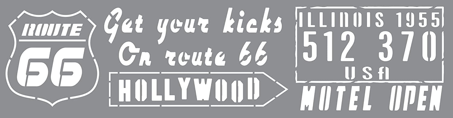 Andy Skinner Mixed Media Route 66 Stencil, Grey, 12 x 3-Inch