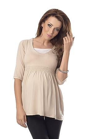 6207fe021f047 Purpless Maternity Top Tunic A Line Pregnancy Shirt Blouse Pregnant Women  5200 (8, Beige