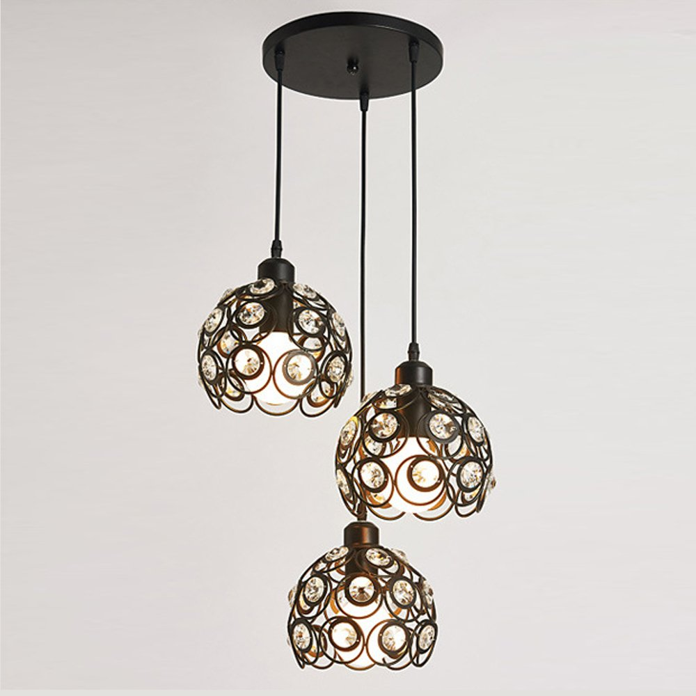Antique Pendant Island Light, MKLOT Ecopower Retro Vintage Style 7.87'' Wide Black Metal Crystal Hollow Multi Pendant Hanging Lighting Ceiling Lamp Chandelier use 3 E26 Bulb