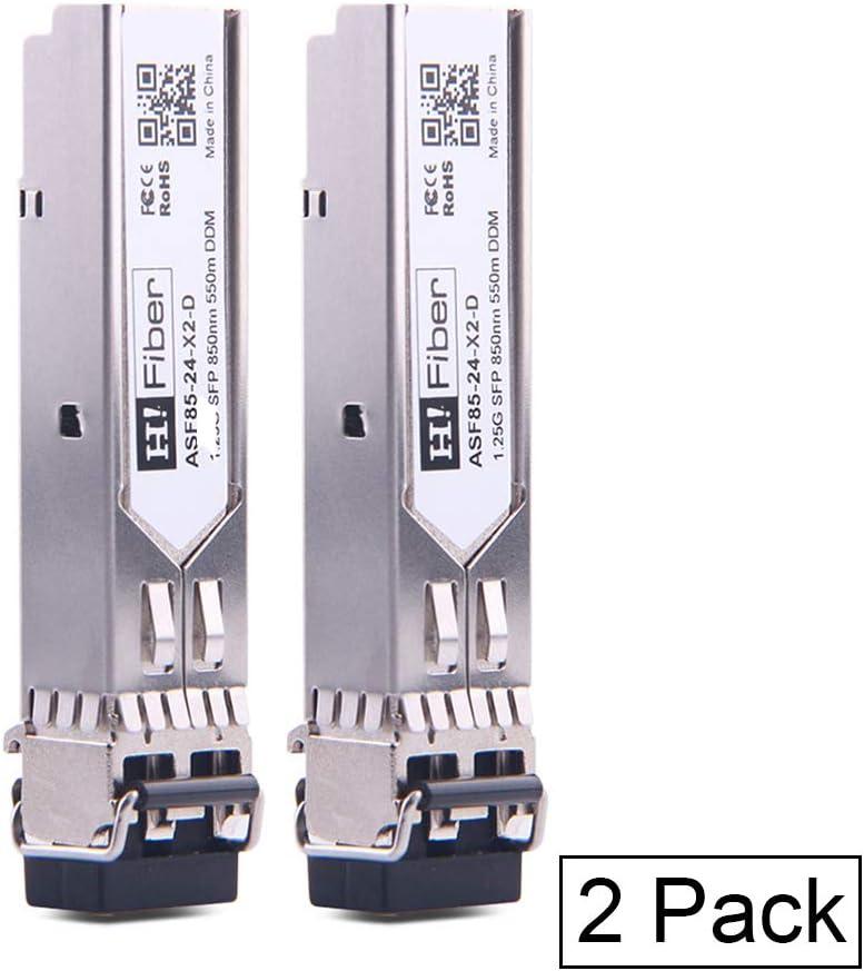 H!Fiber.com SFP Transceiver Multimode Gigabit Mini-GBIC Module 1000Base-SX Compatible for HPE ProCurve J4858C(MMF, 850nm, 550m, Duplex LC,DOM), 2 Pack