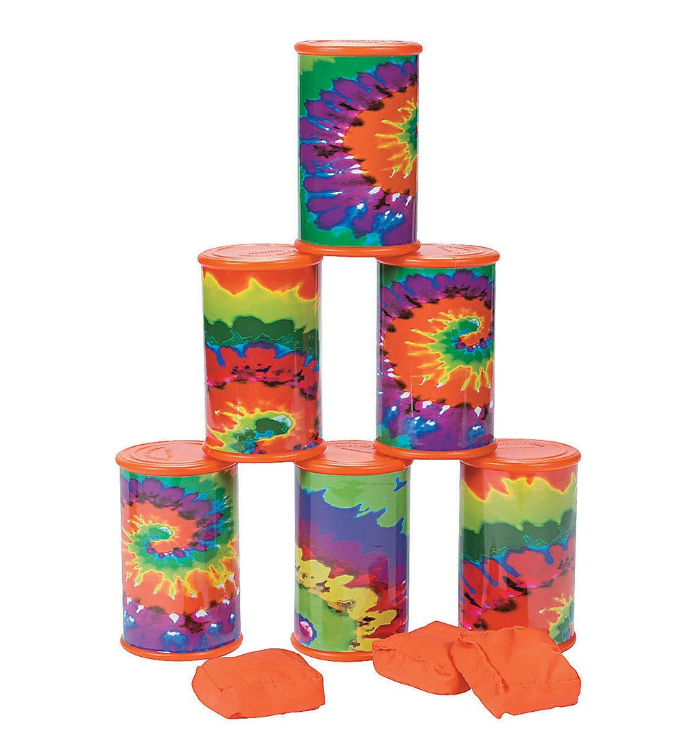 Bean Bag Can Toss Game, Tie-Dyed, For Carnival or Any Party
