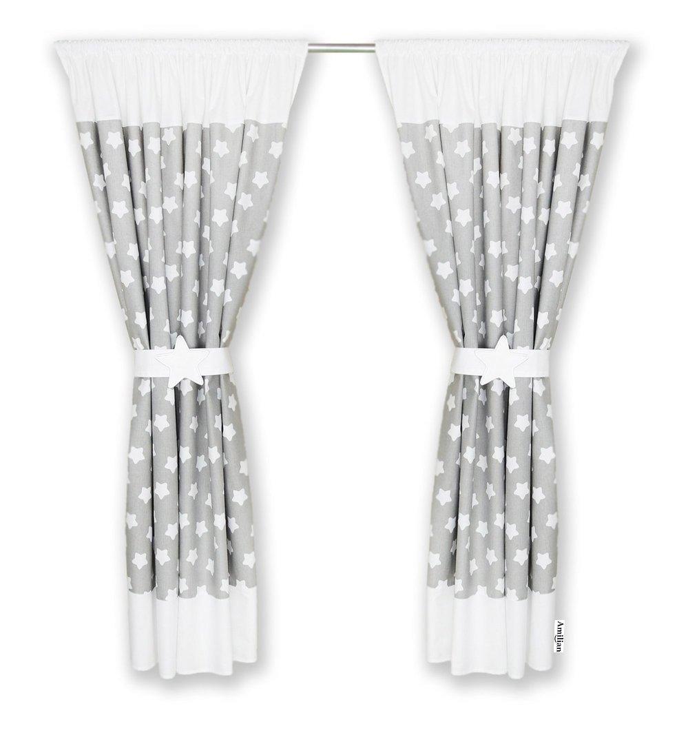 Amilian® – Cortinas para dormitorio infantil (A1), 155 x 155 cm, color blanco zieba