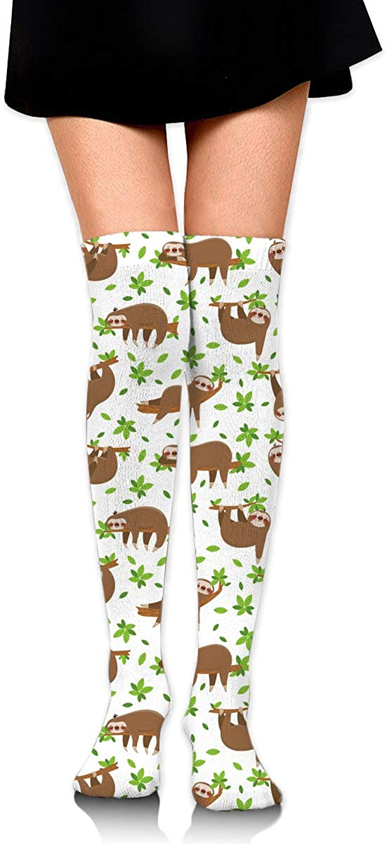 Womens//Girls Cute Sloths On Tropical Lianas Casual Socks Yoga Socks Over The Knee High Socks 23.6