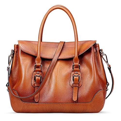86762156aa AINIMOER Womens Soft Vintage Genuine Leather Tote Shoulder Bag Top-handle  Crossbody Handbags Ladies  Messenger Purse(Sorrel)