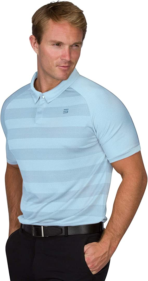 Three Sixty Six Golf Polo Shirts for Men - Dry Fit Collared Golf Polos - Lightweight and Breathable, Stripe Design