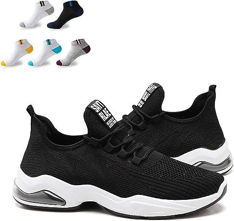 XFQ Las Zapatillas De Deporte De Los Hombres De Verano Ligera De Malla Zapatos Corrientes Ocasionales Antideslizante De Amortiguación con 5 Pares De Calcetines Deportivos,Negro,41EU: Amazon.es: Hogar