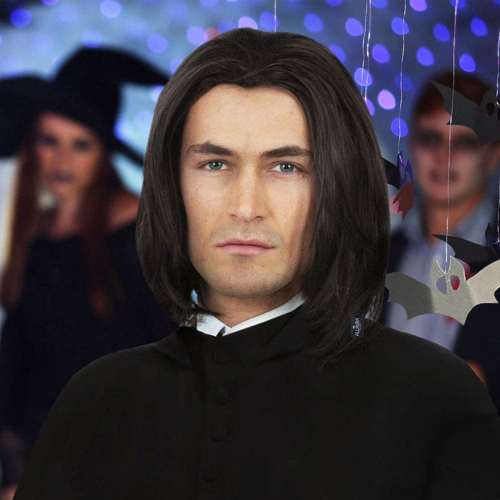 ALLAURA Severus Snape Costume Wig Long Black Mens Wigs Michael Jackson Adults Kids
