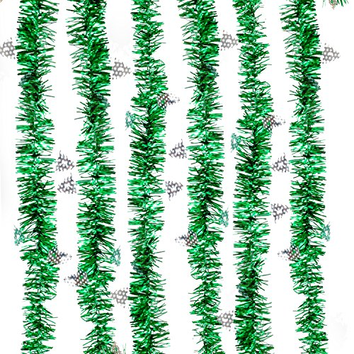 Price comparison product image Treasures Gifted Shamrock Green Fringe Pine Holiday Garland for Plastic Metallic Tinsel Background Backdrop Decorations and Outdoor Christmas Foil Curtain with Lights