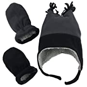 N'Ice Caps Boys Sherpa Lined Micro Fleece Four Corner Ski Hat and Mitten Set (3-6 Months, Black/Charcoal Grey Infant)