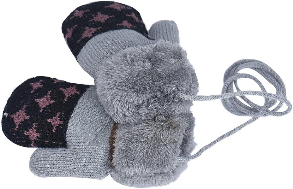 Mbby Muffole Neonato Invernali,0-12 Mesi Guanti Bimba Bimbo Morbido E Caldo Addensare Antigraffio Cartone Animato,Guanti Bambini Con Corda Anti-Smarrimento