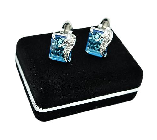 Caja de terciopelo - plateado cristal azul Mancuernas cuadradas para los hombres - francés hipergliceridemia accesorios de enlaces, negro: Amazon.es: ...
