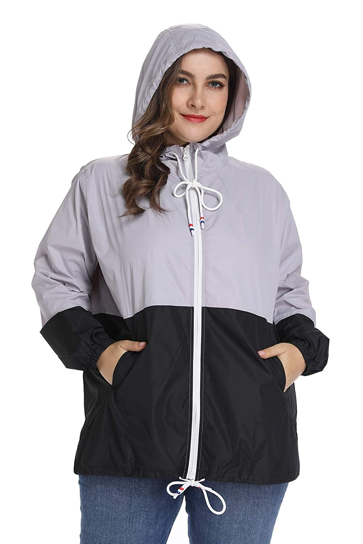 Womens Waterproof Raincoat Outdoor Hooded Rain Jacket Windbreaker XL-5XL