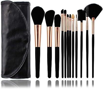 set de brochas para maquillaje Set de maquillaje, pincel, set de herramientas de maquillaje profesional, 12 cubiertas de red de paquete de pincel oro negro + negro, fibra artificial: Amazon.es: Belleza