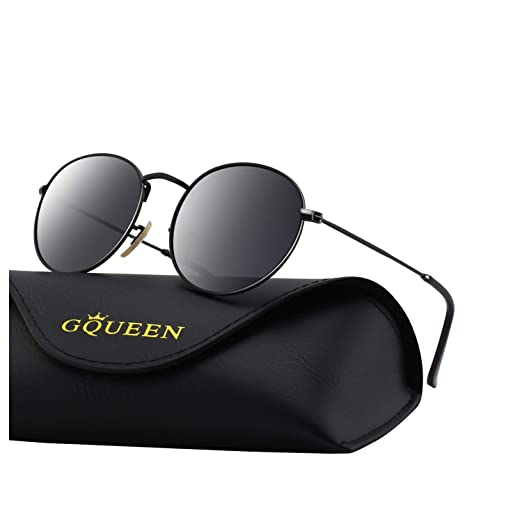 86970ef69 Image Unavailable. Image not available for. Color: GQUEEN Retro Round Circle  Lennon Polarized Sunglasses Mirrored ...