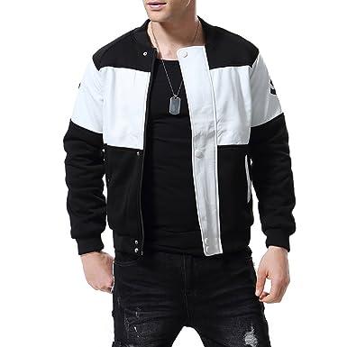 aee22b5c84ca65 AOWOFS Herren Baseball Jacke Faux Leder Jacke stilvoll schwarz weißen Mantel  Basketball Jacke
