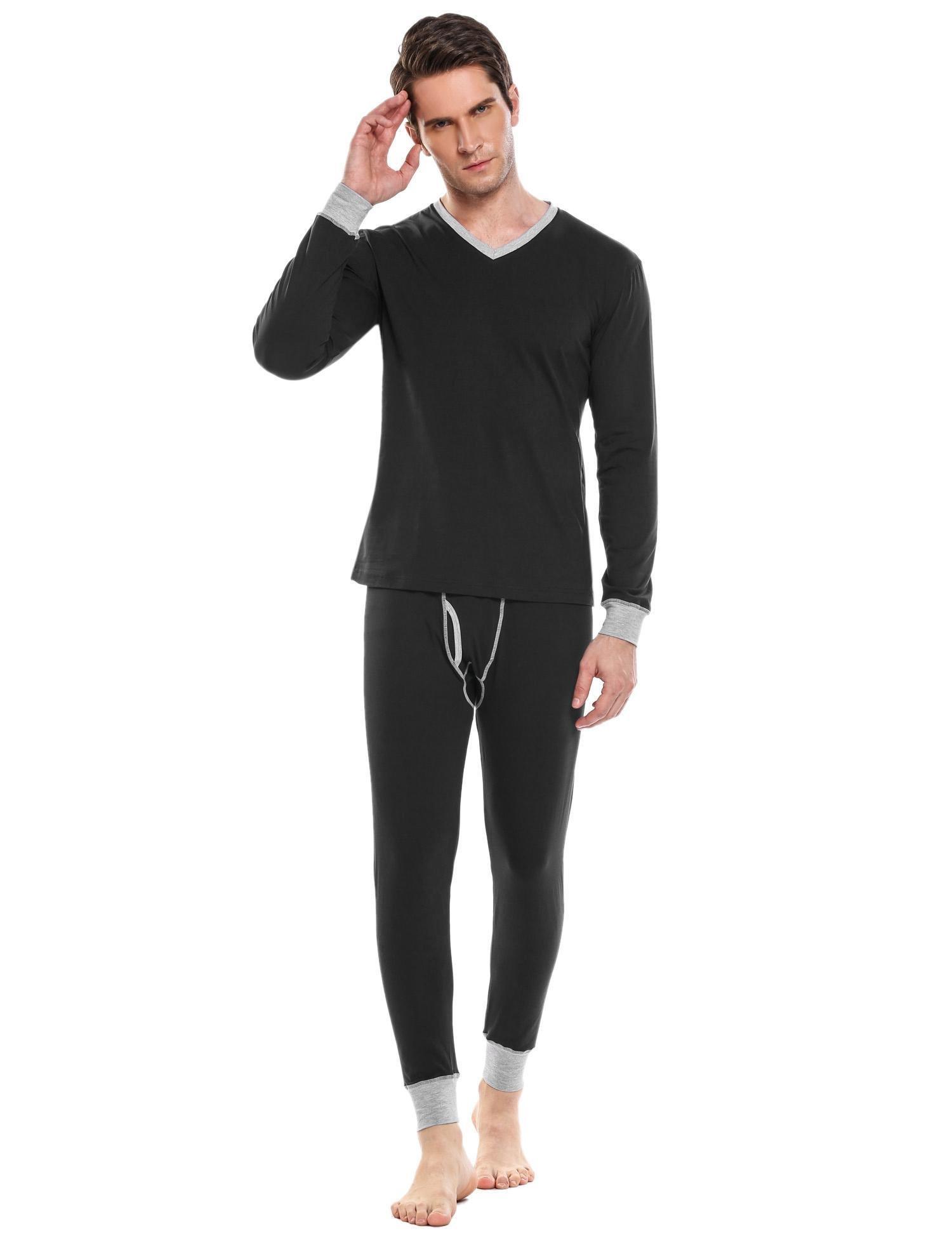 Langle Fashion Men's Soft Cotton Thermal Underwear Long Sets (Black, Large)