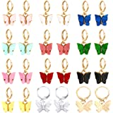 Sntieecr 12 Pairs Butterfly Earrings, Acrylic Colored Butterfly Drop Earrings Women and Girls Fashion Jewelry Gift Set