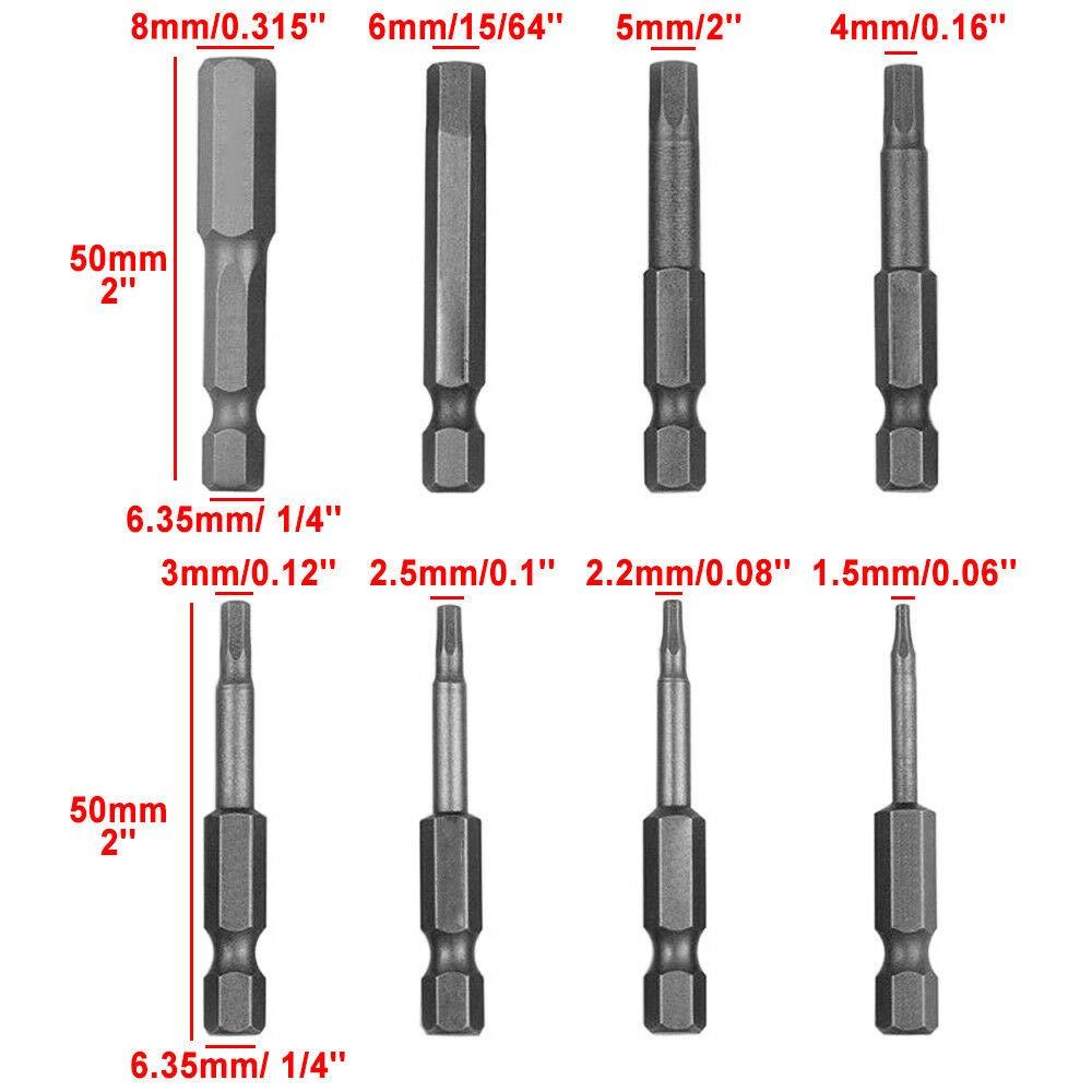 8pcs Hex Shank Screwdriver Bits Set Security Magnetic Head Fast 50mm 1//4