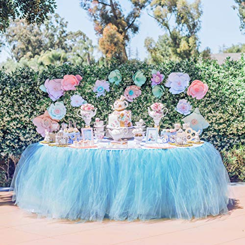Tutu Table Skirt Tulle Tableware Christmas Decor Frozen Tablecloth Mesh Fluffy for Bridal Baby Shower Party,Wedding,Birthday Party&Home Chair Decoration,Table Skirting 3 Yards (Blue,L9(ft) H 30in)