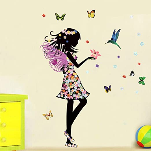 Ángel Hada Mariposas Aves Adhesivo decorativo para pared casa de vinilo extraíble papel pintado de salón dormitorio cocina arte imagen PVC Murales de ...