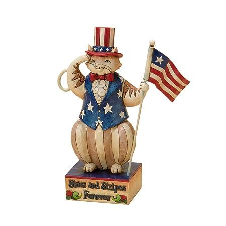 Enesco Jim Shore Heartwood Creek Patriotic Cat Holding Flag Figurine, 6-1 2-Inch