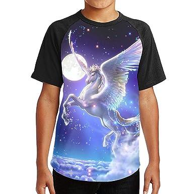 6b551983 Youth 3D Print Short Sleeve Tee Nobel Flying Horse Kids T-Shirt Tops O-