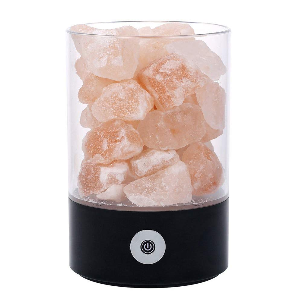 TDOOK Salt Lamp Himalayan Rock Salt Lamp Brightness Adjustable USB Air Purifying Ionic Natural Salt Crystal Lamp Effective Air Purifier for Home and Office or as Round Black