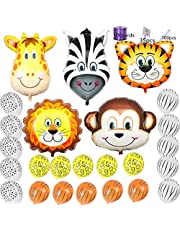 "Safari Jungle Zoo Huge Animal head Balloon Jumbo Balloons Zebra, Tiger, Lions, Giraffe & Monkey with 20pcs 11"" latex Safari Print Party Supply"