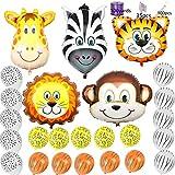Safari Jungle Zoo Huge Animal head Balloon Jumbo Balloons Zebra, Tiger, Lions, Giraffe & Monkey with 20pcs 11'' latex Safari Print Party Supply foci cozi