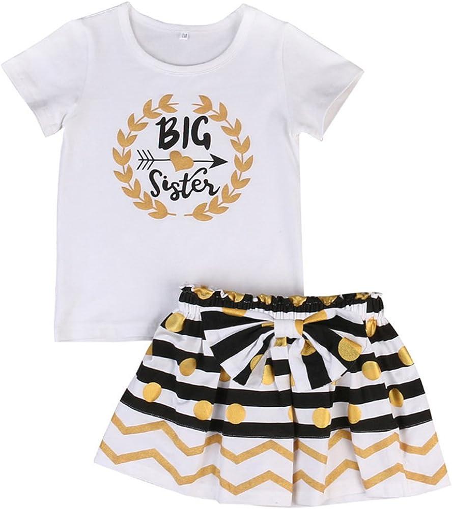 HBER 0-24 Meses Hermana pequeña & 2-7 años Hermana mayor Bebé Pequeño Niñas Falda Regalos Conjuntos de ropa