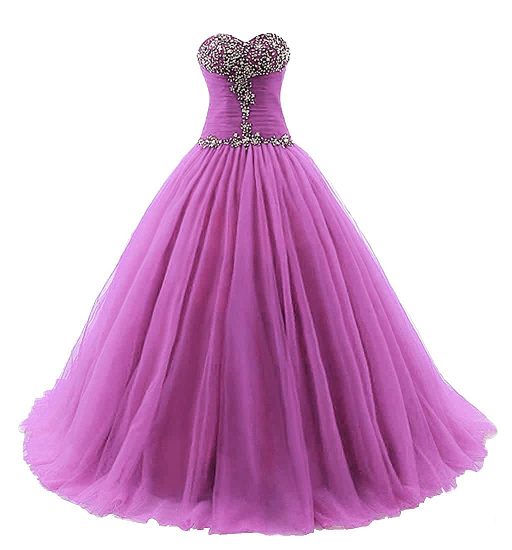 purplec Vantexi Women's Strapless Tulle Quinceanera Dress Prom Ball Gown
