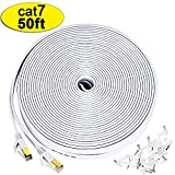 Cat7 Ethernet Cable, 50 Ft Network Cable, Slim High Speed Wire Internet Cable with Clips, Faster Than Cat6 Cat5,Computer LAN Cord with Shielded (STP) RJ45 Plugs for MAC Pro, TV, PS4,Laptop-White(15M)
