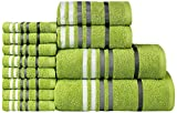 CASA COPENHAGEN Exotic Cotton 475 GSM 12 Pieces Designer Bath, Hand & Washcloth Towels Gift Set - Lime Green