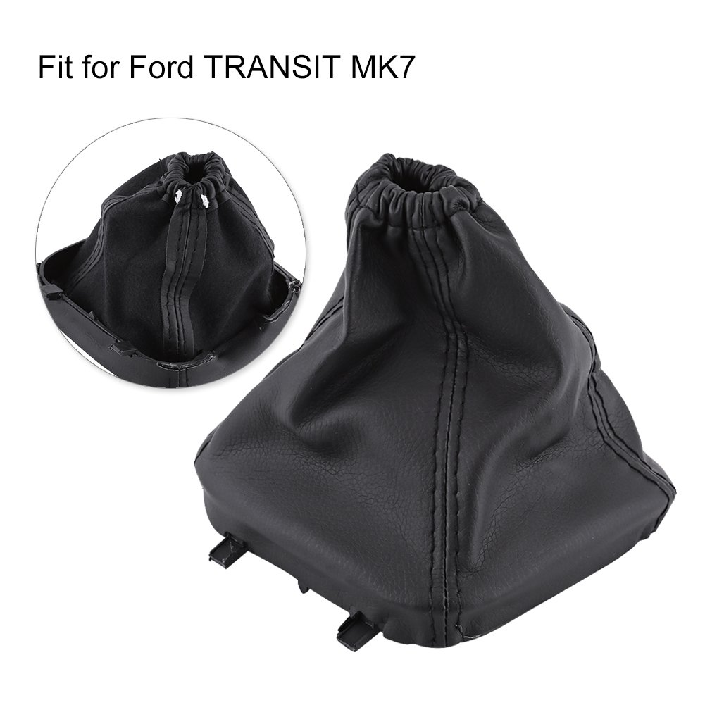 Car Gear Shift Boot Gear Shifter Knob Gaiter PU Leather Dust Cover Replacement Black