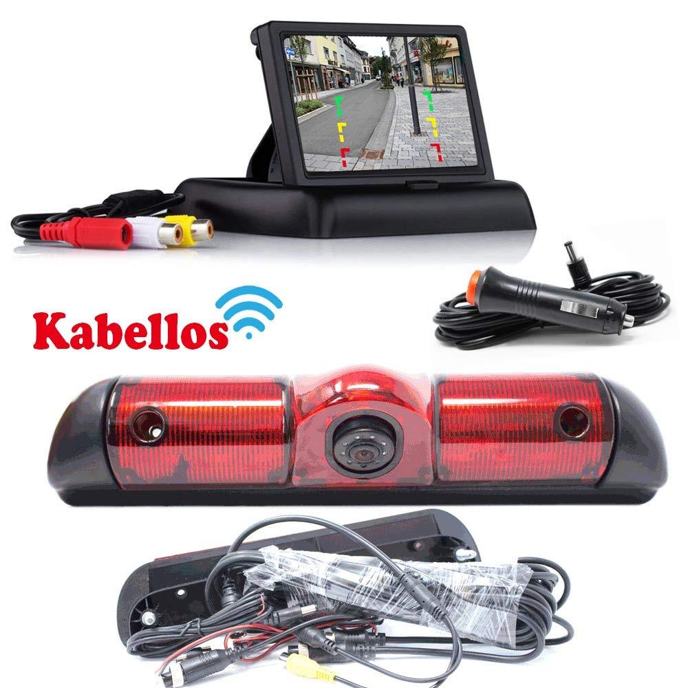 R/ückfahrkamera Kompatibel mit FIAT Ducato Peugeot Boxer /& Citroen Jumper Bremslicht inkl Hinten Heck Rear View Camera Kamera Flip Monitor Bis zu 5 Jahre Garantie