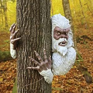 ABOMINABLE SNOWMAN YETI OUTDOOR TREE HUGGER SCULPTURE