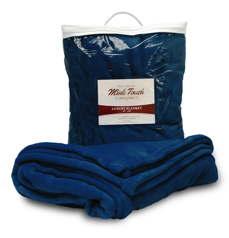 (Navy Blue) - Cloud Mink Touch Throw Blanket (Navy Blue) B014E99JUO ネイビーブルー