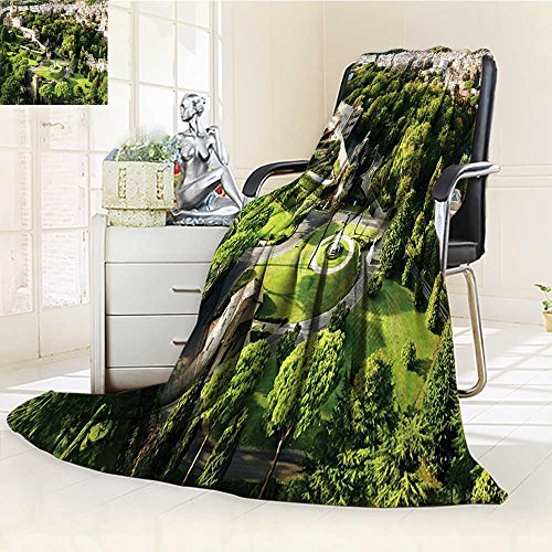 YOYI-HOME Digital Printing Duplex Printed Blanket Vatican Gardens and European Historic Landmark Cityscape Accessories Green Ecru Cream Summer Quilt Comforter /W69 x H47 by YOYI-HOME