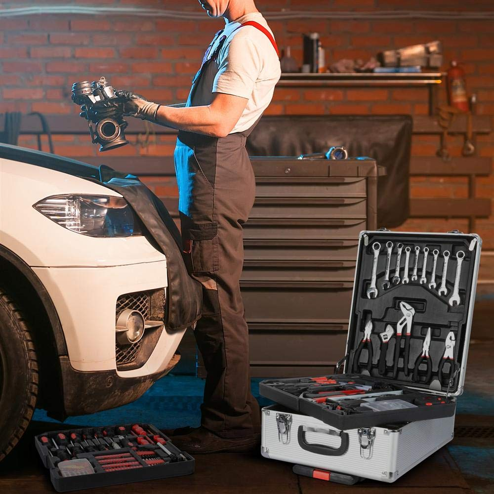 go2buy Tool Box with Tools Mechanic Travel Tool Box Tool Kit Wrenches Socket Aluminum Trolley Tool Box Organizer w/ 1099 Pieces Tools by go2buy (Image #6)