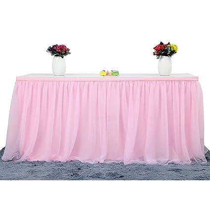Mesa Principal Baby Shower.Table Skirt 3 Yard Table Skirting 4 Layer Tulle And