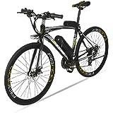 Extrbici Vélo électrique Vélo de ville 700C 240W 36V 15A Bicyclette Homme en Alliage d'Aluminium avec Suspension de la Fourche S/H/I/M/A/N/O TZ-21 Vitesses, Couleur Gris Cyrusher