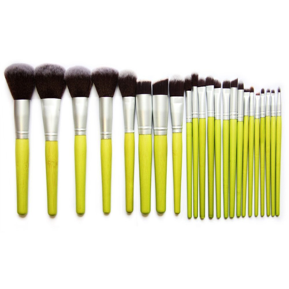 Pixnor Bamboo Handle Cosmetic Makeup Brush Set with Pouch (23pcs, Green)