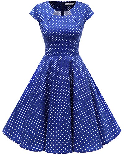 Homrain Women's 1950s Retro Vintage A-Line Cap Sleeve Cocktail Swing Party Dress RoyalBlue Small White Dot M ()